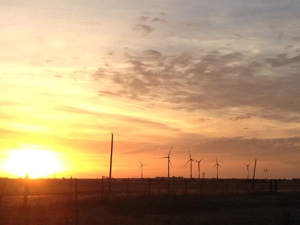 SW Oklahoma sunrise on wind turbines