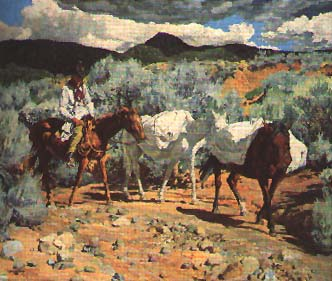 Taos Indian and Pack Horse by Walter Ufer