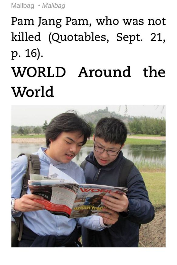 Screenshot from World Magazine on Kindle App for iPhone