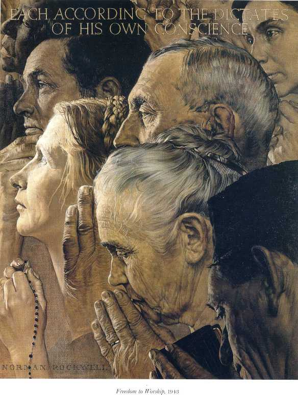 Freedom To Worship by Norman Rockwell