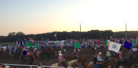 The grand entry. Not all are competitors, but all are involved with horses somehow