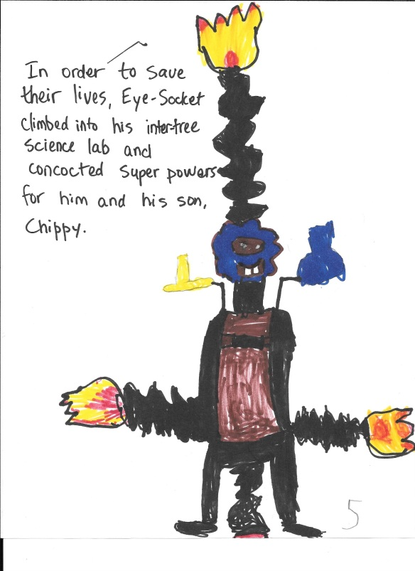 Chippy's father, Eye-Socket, in his super powers lab